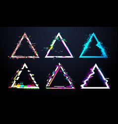 glitch triangle frame distorted tv screen flaw vector image