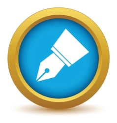 Gold pen icon vector