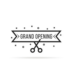 grand opening with thin line scissors vector image