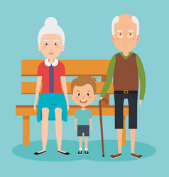grandparents couple with grandson avatars vector image