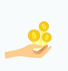hand holding golden bitcoin vector image