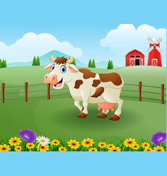 happy cute cow in the farm with green field vector image
