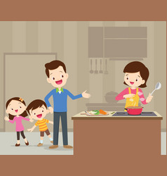 Happy cute family cooking vector