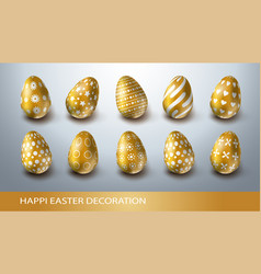 happy easter decoration set with realistic golden vector image