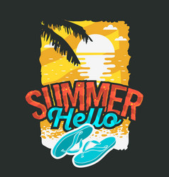hello summer poster design with sunrise above the vector image