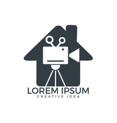 house and film or movie cam logo design vector image