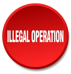 Illegal operation red round flat isolated push vector