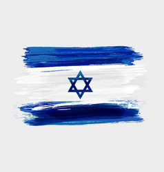 Israel national grunge watercolor brushed flag vector