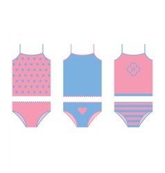Kid underwear set shirt and panties vector
