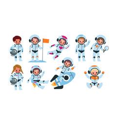Kids astronauts happy little children in cosmic vector