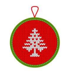 Knitted christmas decoration trees vector