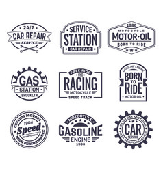 Labels for gas stationcar repair serviceracing vector