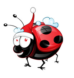 lady bug character with santa claus hat vector image