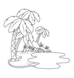Landscape oasis on sand in black and white vector