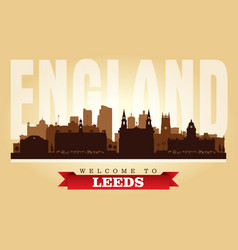 leeds united kingdom city skyline silhouette vector image