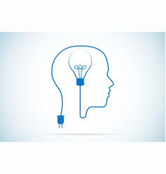 light bulb and human head idea concept vector image