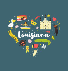 louisiana poster with symbols and elements vector image