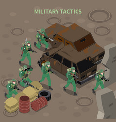 Military tactics isometric composition vector