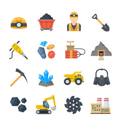 Mining and quarrying icons in flat style vector