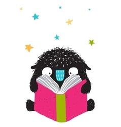 Monster reading book cartoon for kids vector