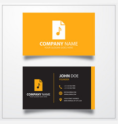 Mp3 music file icon business card template vector