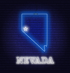 Neon map state nevada on a brick wall vector