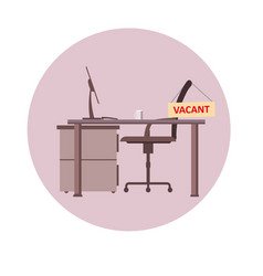 office chair with vacancy sign isolated empty vector image