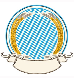 Oktoberfest label Bavaria flag background with vector