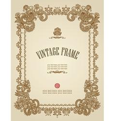 Original hand draw ornate floral vintage frame vector