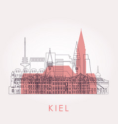 outline kiel skyline with landmarks vector image