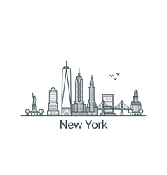 Outline New York banner vector