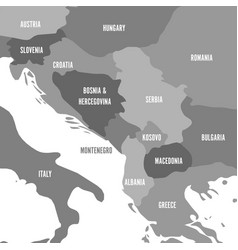 Political map of balkans - states of balkan vector