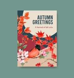 poster template with autumn forest and animals vector image