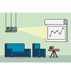 Presentation room with projector and comfortable vector image