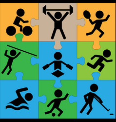 puzzle sport icons vector image
