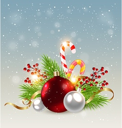 Red decorations and candy cane vector image