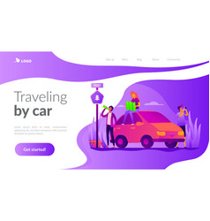 Road trip landing page template vector