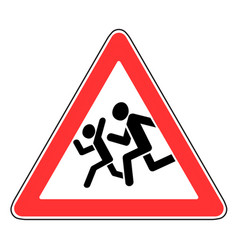 roadsign beware children vector image