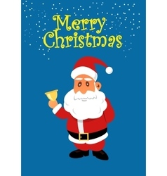 Santa Claus with golden bell Christmas vector image