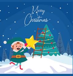 Santas helper and christmas tree colorful design vector