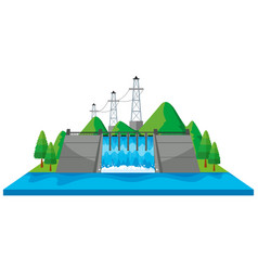 Scene with dam and electric towers in 3d design vector