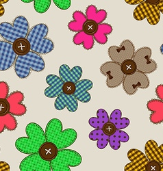 Seamless pattern of flower patchworks vector