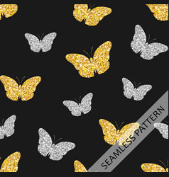 seamless pattern with shiny fluttering butterflies vector image