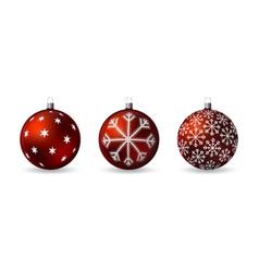 set 3d christmas balls with decorative ornament vector image