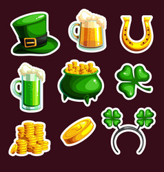 set of stickings for st patrick s day vector image