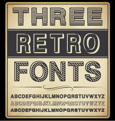 set three vintage fonts vector image