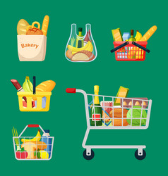 shopping baskets and bags set grocery plastic vector image
