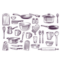 sketch cooking equipment hand drawn doodle vector image