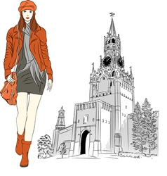 Sketch lovely fashion girl in moscow vector