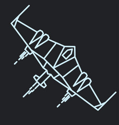 Spaceship outline linear flying rocket vector